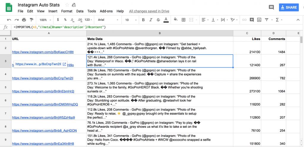 Google Sheets Instagram data