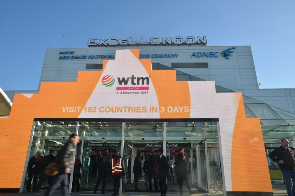 World Travel Market 2017, ExCeL London - Excel West entrance.