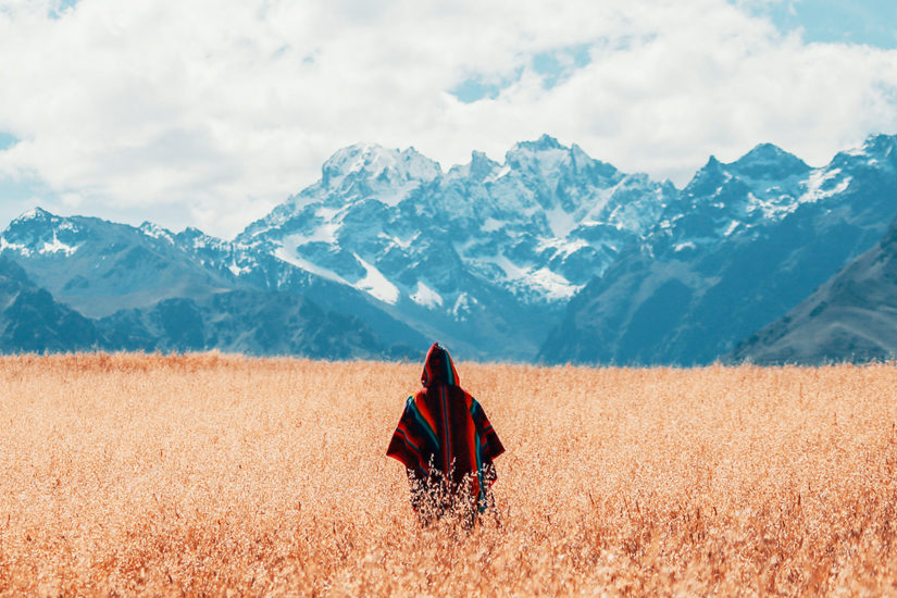 Man stood in field with mountain backdrop
