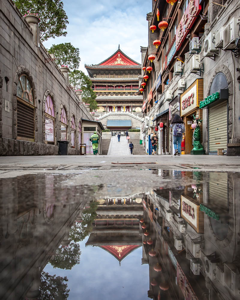 Reflection of a temple in China