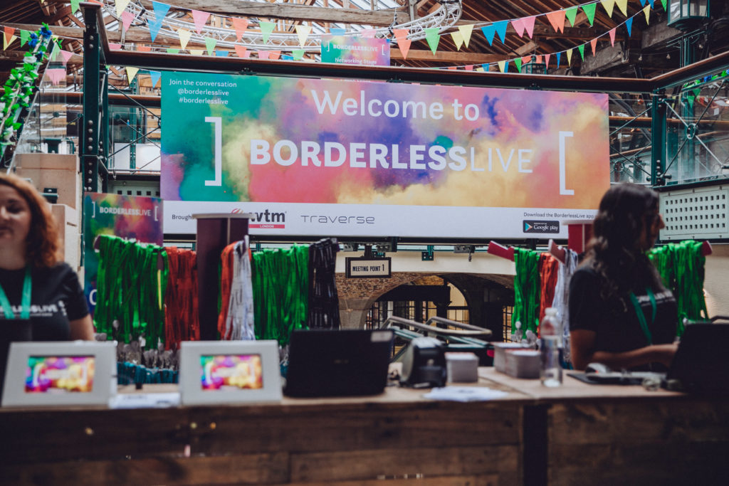 BorderlessLive colourful banner and bunting in the background