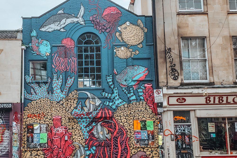 Colourful urban street art in Bristol