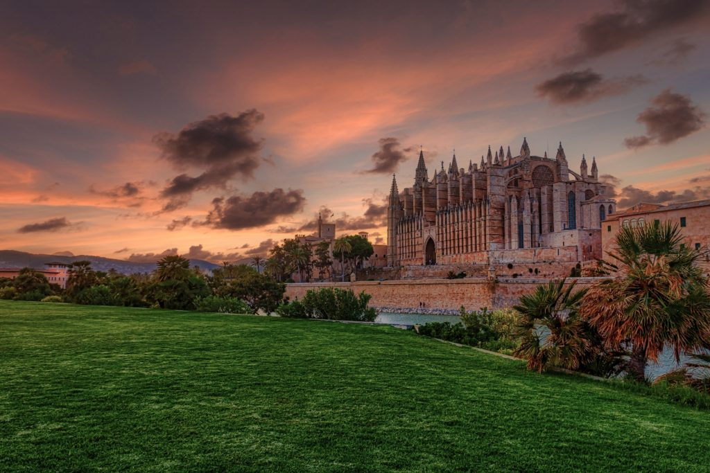 Cathedral in Palma at sunset with green grass int he forefront