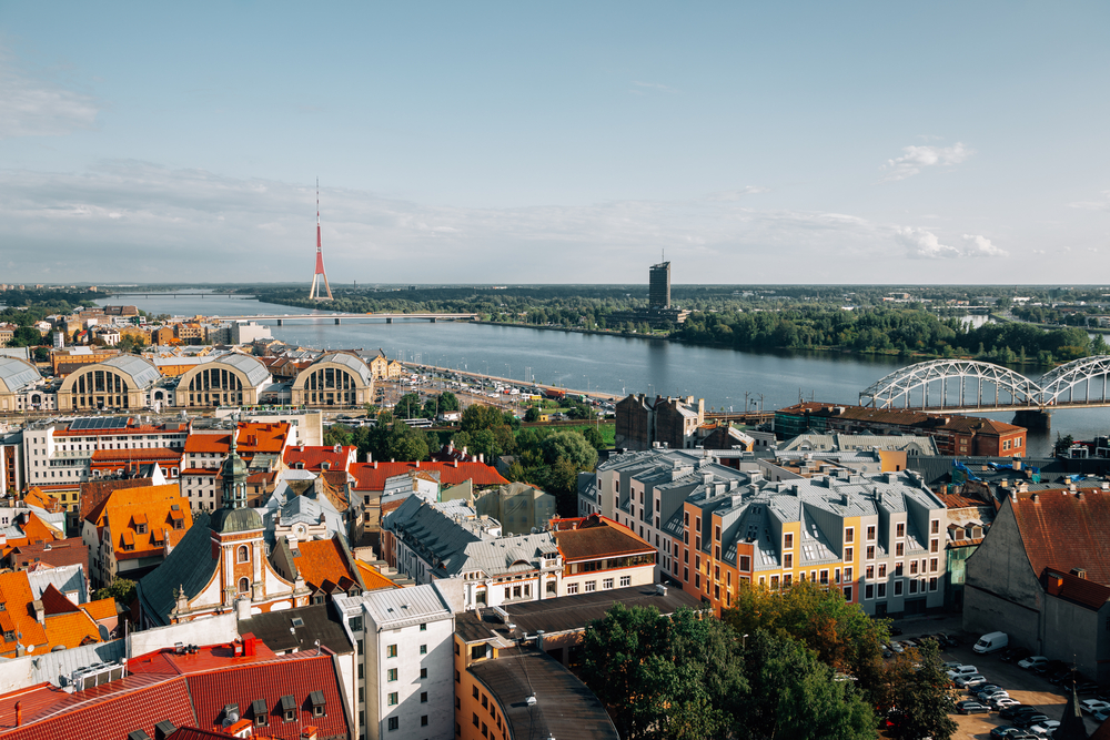Birds eye view of Riga old town, looking out on the river