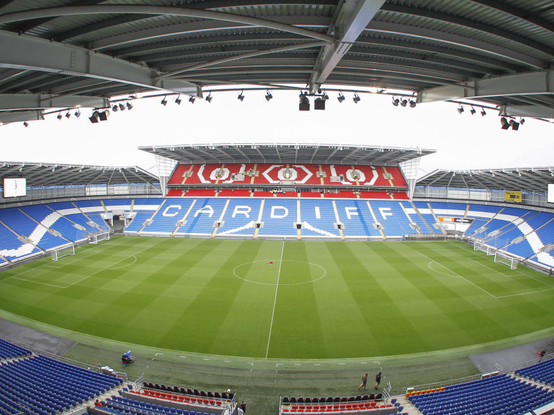 The Cardiff City Stadium with the new extension before the Cardiff City and VfL Wolfsburg pre season friendly match at the Cardiff City Stadium, Cardiff Picture by Mike  Griffiths/Focus Images Ltd +44 7766 223933 02/08/2014